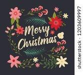 typographic merry christmas... | Shutterstock .eps vector #1203609997