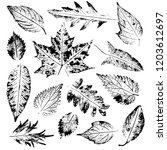 isolated black stamps of leaves ... | Shutterstock .eps vector #1203612697