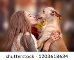 closeup portrait of cute girl... | Shutterstock . vector #1203618634