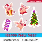 set of christmas pig stickers... | Shutterstock .eps vector #1203658024