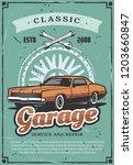 garage or car service vintage... | Shutterstock .eps vector #1203660847