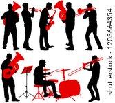 set silhouette of musician...   Shutterstock .eps vector #1203664354