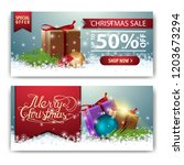 christmas banner template with... | Shutterstock .eps vector #1203673294