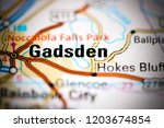 gadsden. alabama. usa on a map | Shutterstock . vector #1203674854