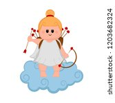 cute cupid girl icon with bow... | Shutterstock .eps vector #1203682324