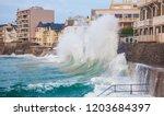 Big waves crushingin in Saint Malo, France