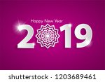 purple happy new year 2019...   Shutterstock .eps vector #1203689461