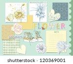 beauty set of scrapbook design... | Shutterstock .eps vector #120369001