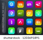 car shop colored icons in the... | Shutterstock .eps vector #1203691891