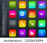 car shop colored icons in the... | Shutterstock .eps vector #1203691894