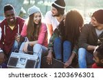 group of young people or... | Shutterstock . vector #1203696301