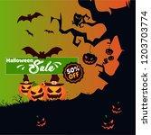 vector happy halloween party...   Shutterstock .eps vector #1203703774