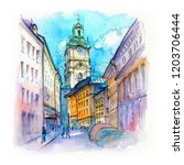 watercolor sketch of church of... | Shutterstock . vector #1203706444