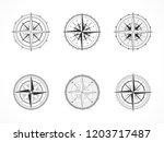 vector set of vintage compasses ... | Shutterstock .eps vector #1203717487