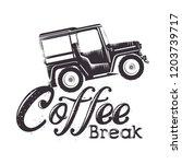 coffee break label with car | Shutterstock .eps vector #1203739717