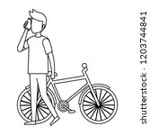 young man with bicycle and...   Shutterstock .eps vector #1203744841