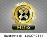 shiny emblem with crossed... | Shutterstock .eps vector #1203747664