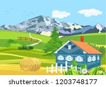 rural landscape  countryside... | Shutterstock .eps vector #1203748177