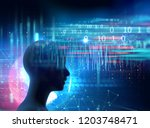 silhouette of virtual human on... | Shutterstock . vector #1203748471