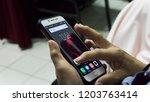 kota kinabalu  sabah  malaysia  ... | Shutterstock . vector #1203763414