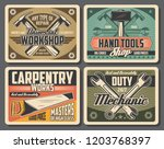 workshop and carpentry tools ... | Shutterstock .eps vector #1203768397