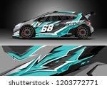 racing car wrap design vector.... | Shutterstock .eps vector #1203772771