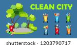 clean city. ecology. baskets...   Shutterstock .eps vector #1203790717