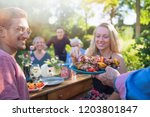 in the summer  a family of... | Shutterstock . vector #1203801847