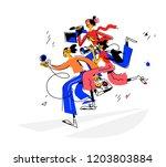 illustration of journalists... | Shutterstock .eps vector #1203803884