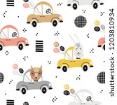 seamless baby pattern with cute ... | Shutterstock .eps vector #1203810934