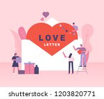 hearts in large envelopes and... | Shutterstock .eps vector #1203820771