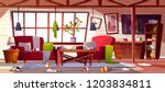 messy living room with dirty... | Shutterstock .eps vector #1203834811