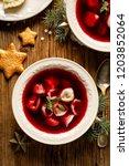 christmas beetroot soup ... | Shutterstock . vector #1203852064