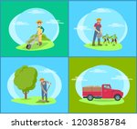 car lorry and people working on ... | Shutterstock .eps vector #1203858784