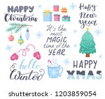 set of colorful christmas... | Shutterstock .eps vector #1203859054
