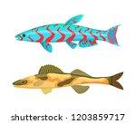cirrhitops fasciatus fish set....   Shutterstock .eps vector #1203859717