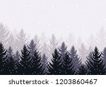 winter evening pine forest in... | Shutterstock .eps vector #1203860467