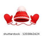 winter warm red hat with white... | Shutterstock .eps vector #1203862624