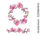 magnolia flower set with wreath.... | Shutterstock .eps vector #1203869641