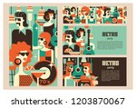 retro party poster. vector... | Shutterstock .eps vector #1203870067
