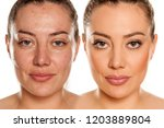 makeover concept. woman without ... | Shutterstock . vector #1203889804