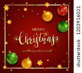 golden lettering merry... | Shutterstock .eps vector #1203916021