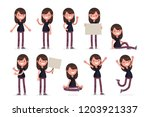 woman poses vector set | Shutterstock .eps vector #1203921337