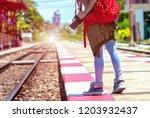 asian young traveler tourist... | Shutterstock . vector #1203932437