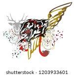 grunge lion symbol with blood... | Shutterstock .eps vector #1203933601