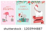 set of cute christmas card with ... | Shutterstock .eps vector #1203944887