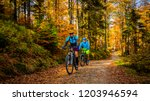 Small photo of Cycling, mountain biker couple on cycle trail in autumn forest. Mountain biking in autumn landscape forest. Man and woman cycling MTB flow uphill trail.