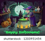 halloween holiday  witch and... | Shutterstock .eps vector #1203951454