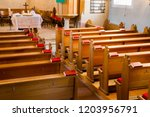 Empty Wooden Church Benches Of...