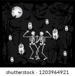skull fight on grave yard... | Shutterstock .eps vector #1203964921
